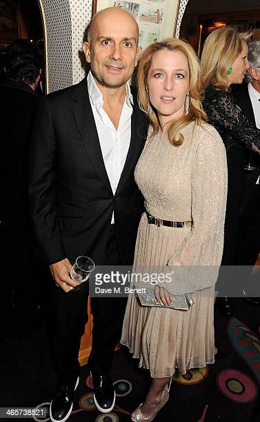 Marc Quinn and Gillian Anderson attend the Charles Finch and Chanel PreBAFTA cocktail party and dinner at Annabel's on February 8 2013 in London...