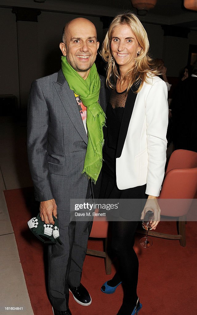 Marc Quinn (L) and Josie Lindop attend a private dinner hosted by Lucy Yeomans celebrating Jason Brooks at Cafe Royal on February 12, 2013 in London, England.
