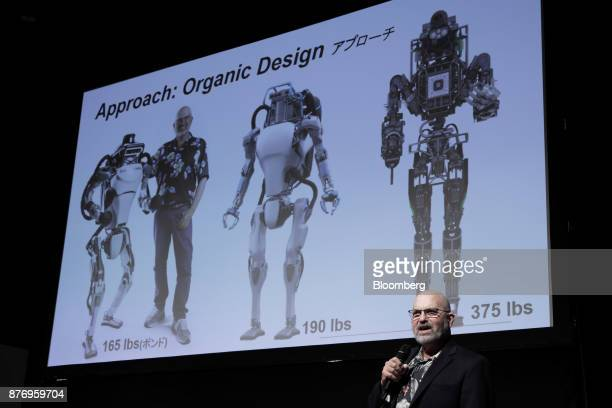 Marc Raibert founder and chief executive officer of Boston Dynamics Inc speaks at the SoftBank Robot World 2017 in Tokyo Japan on Tuesday Nov 21 2017...