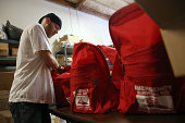 Marc Rich assembles emergency survival kits at Earthquake Supply Center on August 27 2014 in San Rafael California Days after a 60 earthquake rocked...