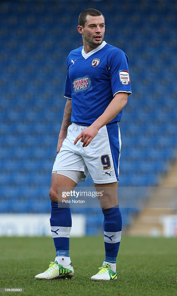 Marc Richards of Chesterfield in action during the npower League Two match between Chesterfield and Northampton Town at the Proact Srtadium on January 12, 2013 in Chesterfield, England.