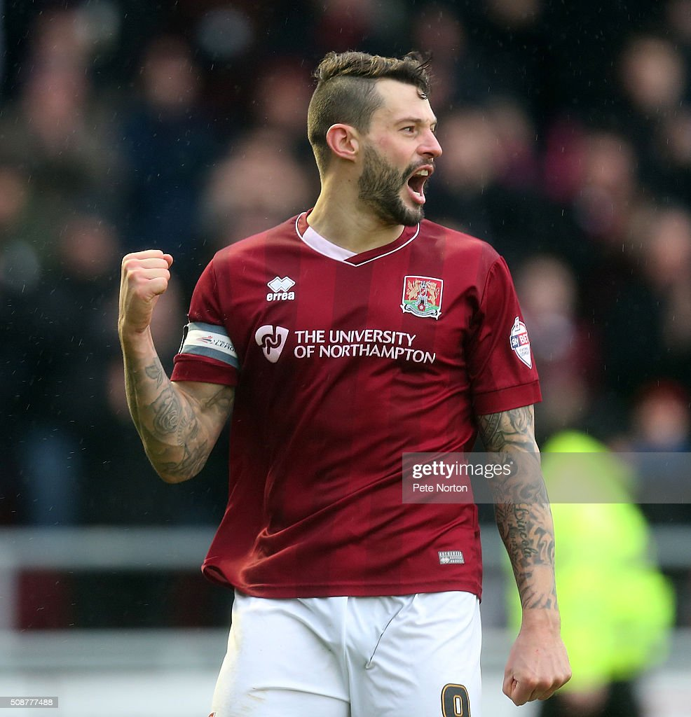 Marc Richards of Northampton Town celebrates after scoring his sides second goal during the Sky Bet League Two match between Northampton Town and York City at Sixfields Stadium on February 6, 2016 in Northampton, England.