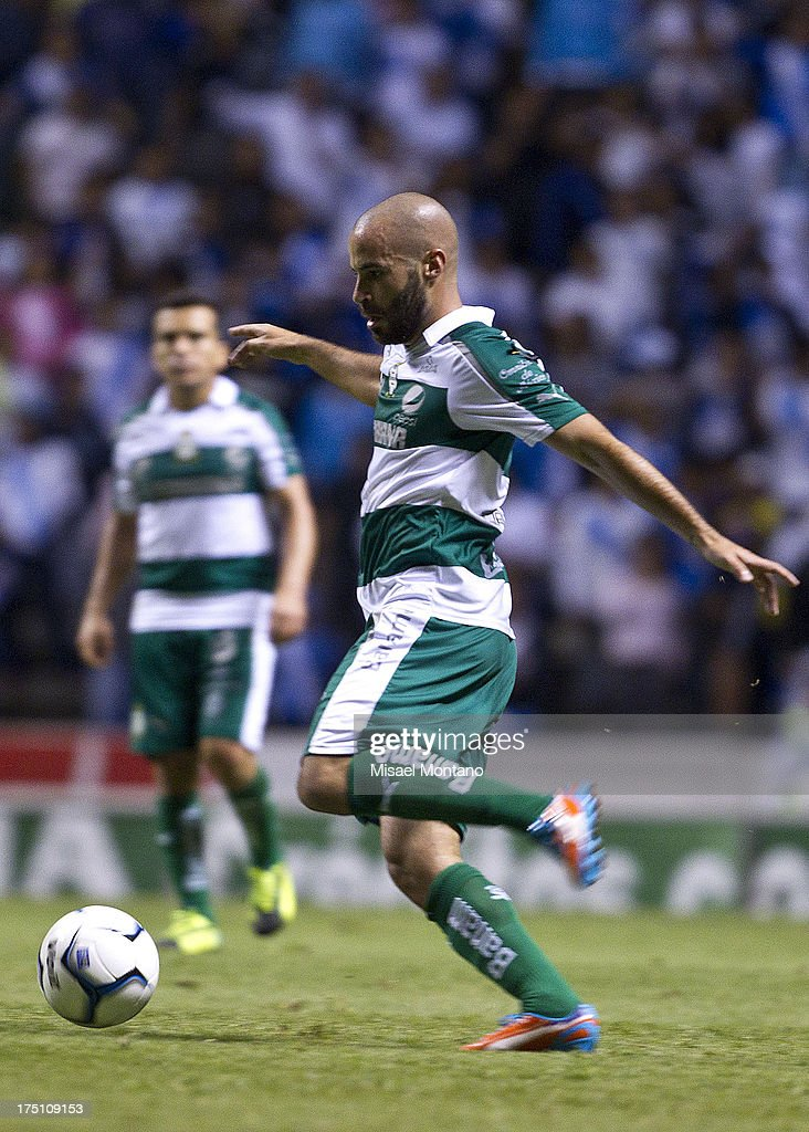 Marc Rosas of Santos during a match between Puebla and Santos as part of the Torneo de Apertura 2013 Liga MX Championship at Cuauhtemoc Stadium, on July 31, 2013 in Puebla, Mexico.