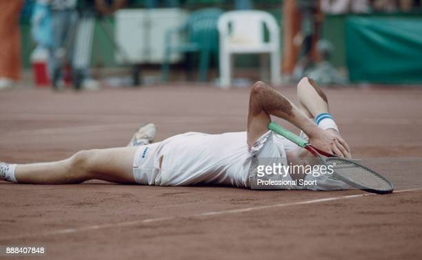 Marc Rossset of Switzerland celebrates after defeating Jordi Arrese of Spain to win the Men's Singles Gold Medal match of the Summer Olympic Games...