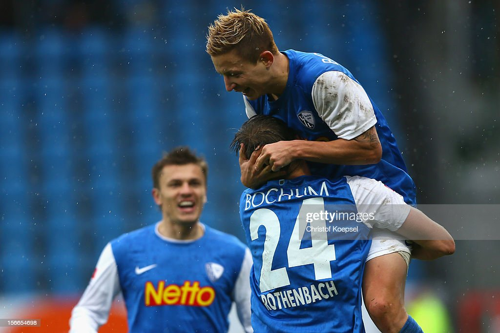 Marc Rzatkowski of Bochum celebrates the forth goal with Carsten Rothenbach during the Second Bundesliga match betweeen VfL Bochum and SV Sandhausen...