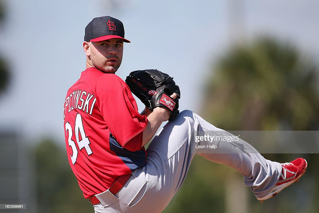 Marc Rzepcynski #34 of the St. Louis Cardinals pitches during the live hitting session during spring training on February 20, 2013 in Jupiter, Florida.