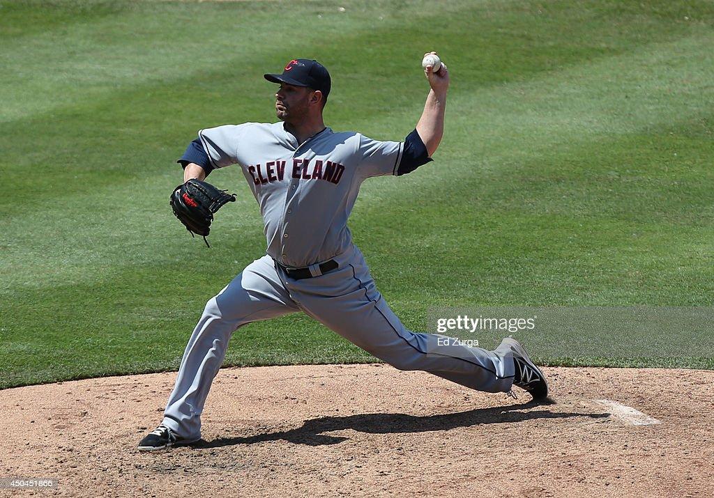 Marc Rzepczynski #35 of the Cleveland Indians throw in the sixth inning Kansas City Royals at Kauffman Stadium on June 11, 2014 in Kansas City, Missouri.