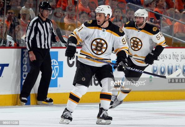 Marc Savard of the Boston Bruins skates against the Philadelphia Flyers in Game Three of the Eastern Conference Semifinals during the 2010 NHL...