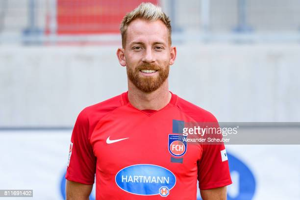Marc Schnatterer of 1 FC Heidenheim poses during the team presentation at Voith Arena on July 8 2017 in Heidenheim Germany