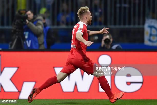 Marc Schnatterer of Heidenheim celebrates his team's first goal during the Second Bundesliga match between Eintracht Braunschweig and 1 FC Heidenheim...