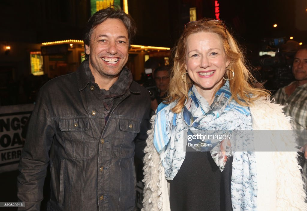 Marc Schnauer and wife Laura Linney pose at the opening night arrivals for 'Springsteen on Broadway' at The Walter Kerr Theatre on October 12, 2017 in New York City.