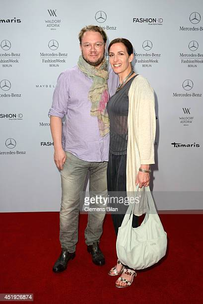 Marc Schubring and Ulrike Frank attend the Guido Maria Kretschmer show during the MercedesBenz Fashion Week Spring/Summer 2015 at Erika Hess...
