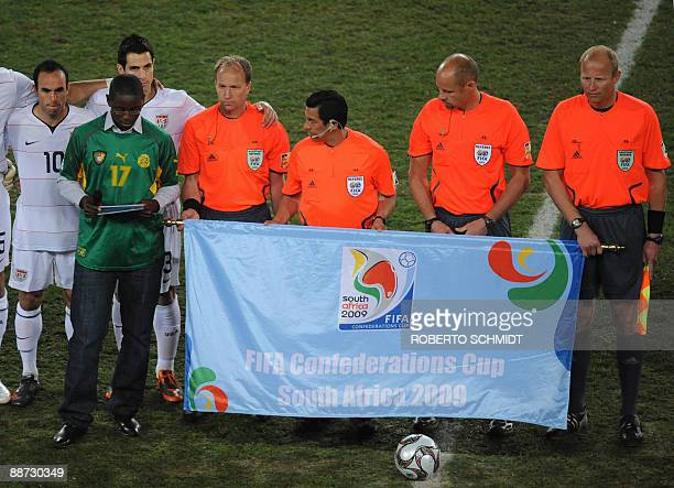 Marc Scott Foe reads a speech during a homage to his late father Cameroonian midfielder MarcVivien Foe before the Fifa Confederations Cup final...