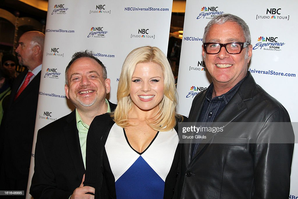 Marc Shaiman, Megan Hilty and Scott Wittman attend The 'Bombshell: The New Marilyn Musical from Smash Cast Recording' CD signing at NBC Experience Store on February 13, 2013 in New York City.