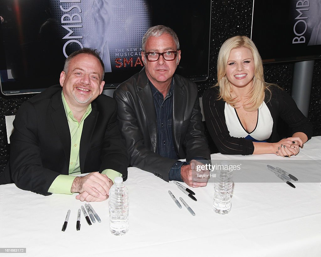 <a gi-track='captionPersonalityLinkClicked' href=/galleries/search?phrase=Marc+Shaiman&family=editorial&specificpeople=693590 ng-click='$event.stopPropagation()'>Marc Shaiman</a>, <a gi-track='captionPersonalityLinkClicked' href=/galleries/search?phrase=Megan+Hilty&family=editorial&specificpeople=602492 ng-click='$event.stopPropagation()'>Megan Hilty</a>, and <a gi-track='captionPersonalityLinkClicked' href=/galleries/search?phrase=Scott+Wittman&family=editorial&specificpeople=726337 ng-click='$event.stopPropagation()'>Scott Wittman</a> attend the 'Bombshell' The Complete Cast Recording Of 'Smash' Press Preview at NBC Experience Store on February 13, 2013 in New York City.