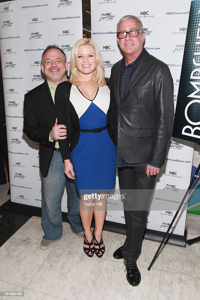 Marc Shaiman, Megan Hilty, and Scott Wittman attend the 'Bombshell' The Complete Cast Recording Of 'Smash' Press Preview at NBC Experience Store on February 13, 2013 in New York City.