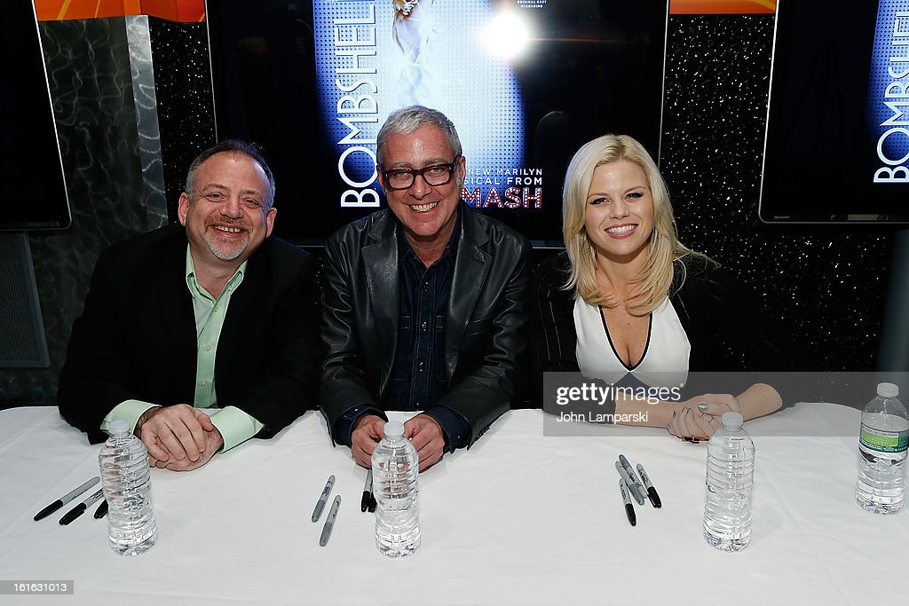 Marc Shaiman, Scott Wittman and Megan Hilty attend the 'Bombshell' The Complete 'Smash' Cast Recording Meet & Greet at NBC Experience Store on February 13, 2013 in New York City.