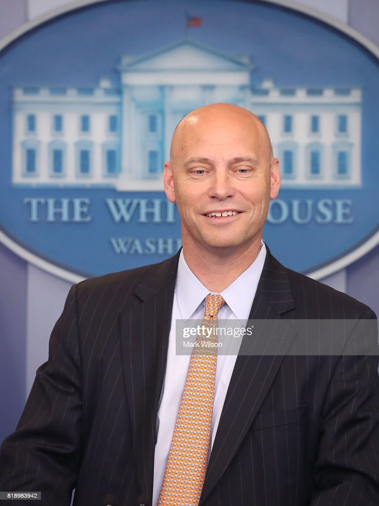 Marc Short, White House director of legislative affairs, briefs the media on President Donald Trump's meeting with Senate Republicans earlier in the day, at the James Brady Press Briefing Room July 19, 2017 in Washington, DC.