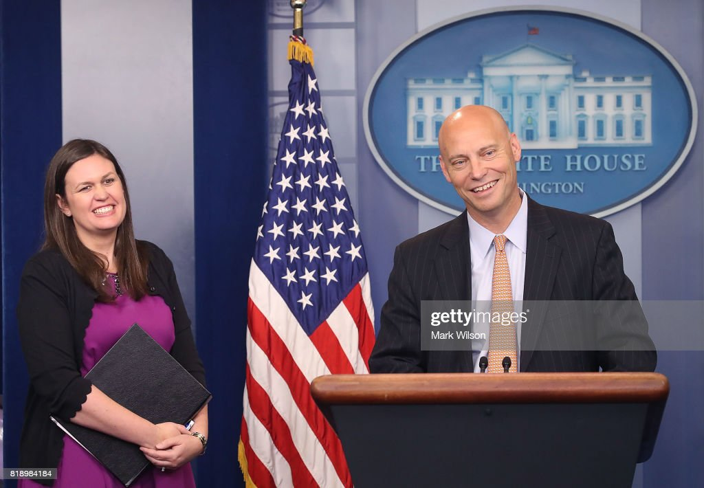 Marc Short, White House director of legislative affairs, briefs the media on President Donald Trump's meeting with Senate Republicans, during White House deputy press secretary Sarah Huckabee Sanders press briefing at the James Brady Press Briefing Room July 19, 2017 in Washington, DC.