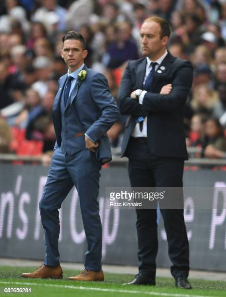 Marc Skinner manager of Birmingham City Ladies looks on during the SSE Women's FA Cup Final between Birmingham City Ladies and Manchester City Women...