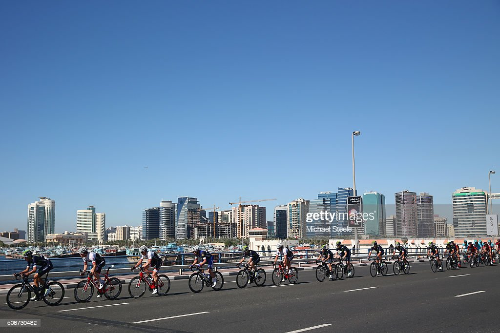 <a gi-track='captionPersonalityLinkClicked' href=/galleries/search?phrase=Marc+Soler&family=editorial&specificpeople=15388616 ng-click='$event.stopPropagation()'>Marc Soler</a> (L) of Spain and Movistar Team leads the chasing peloton during the Business Bay Stage Four of the Tour of Dubai on February 6, 2016 in Dubai, United Arab Emirates.
