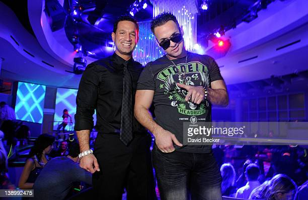 Marc Sorrention and his brother television personality Mike 'The Situation' Sorrentino appear at the RPM Nightclub at the Tropicana Las Vegas on...