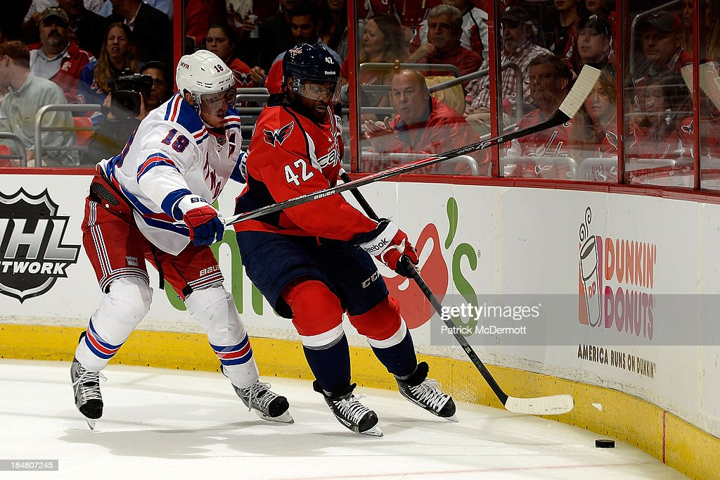 <a gi-track='captionPersonalityLinkClicked' href=/galleries/search?phrase=Marc+Staal&family=editorial&specificpeople=3809026 ng-click='$event.stopPropagation()'>Marc Staal</a> #18 of the New York Rangers and Joel Ward #42 of the Washington Capitals battle for the puck during the third period of an NHL game at Verizon Center on October 16, 2013 in Washington, DC.