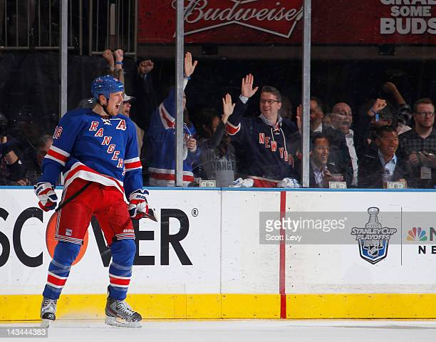 Marc Staal of the New York Rangers celebrates his goal in the second period against the Ottawa Senators in Game Seven of the Eastern Conference...