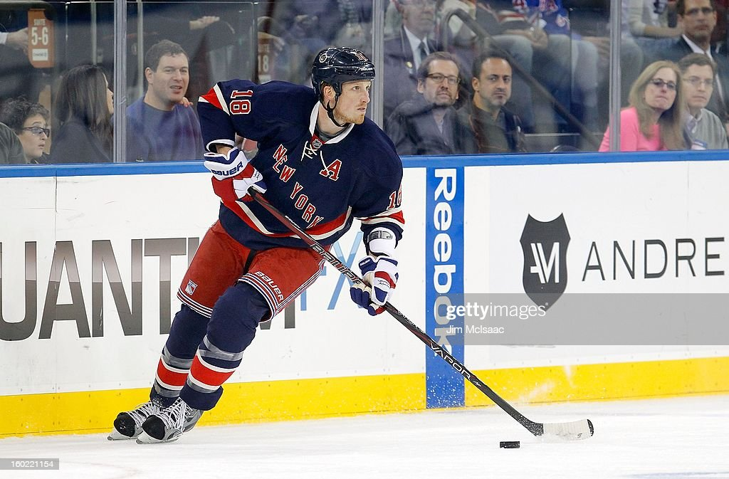 Marc Staal #18 of the New York Rangers in action against the Toronto Maple Leafs at Madison Square Garden on January 26, 2013 in New York City. The Rangers defeated the Maple Leafs 5-2.