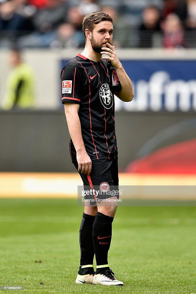 Marc Stendera of Eintracht Frankfurt looks dejected after the Bundesliga match between Eintracht Frankfurt and 1899 Hoffenheim at CommerzbankArena on...