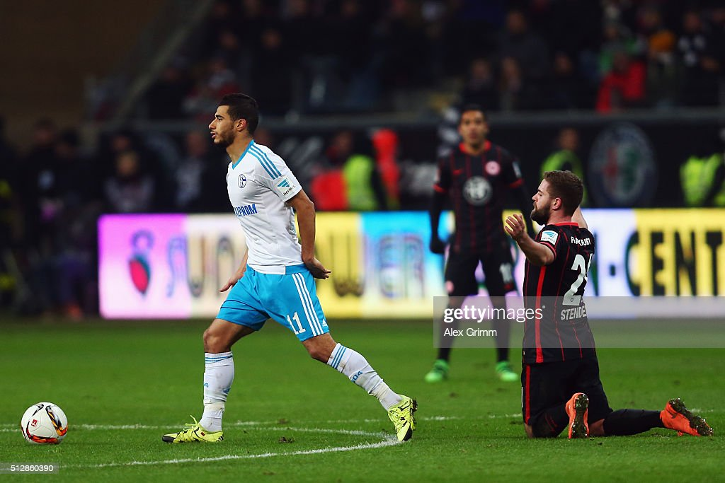 Marc Stendera (R) of Frankfurt reacts during the Bundesliga match between Eintracht Frankfurt and FC Schalke 04 at Commerzbank-Arena on February 28, 2016 in Frankfurt am Main, Germany.