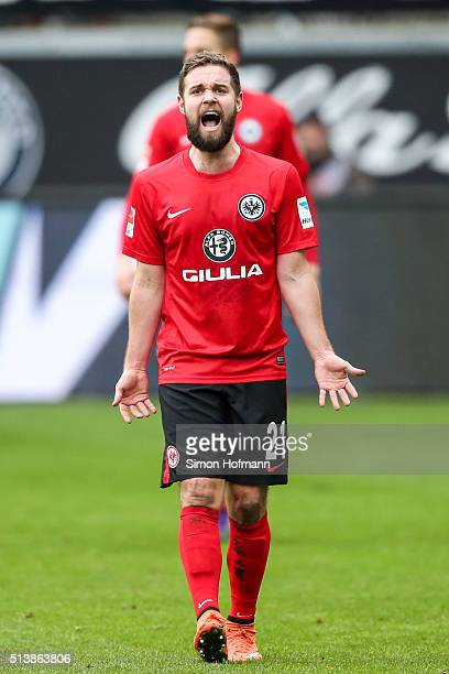 Marc Stendera of Frankfurt reacts during the Bundesliga match between Eintracht Frankfurt and FC Ingolstadt at CommerzbankArena on March 5 2016 in...