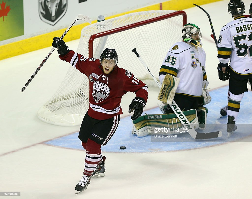Marc Stevens #15 of the Guelph Storm scores a third period goal against the London Knights during the 2014 Memorial Cup tournament at Budweiser Gardens on May 21, 2014 in London, Ontario, Canada. The Storm defeated the Knights 7-2.
