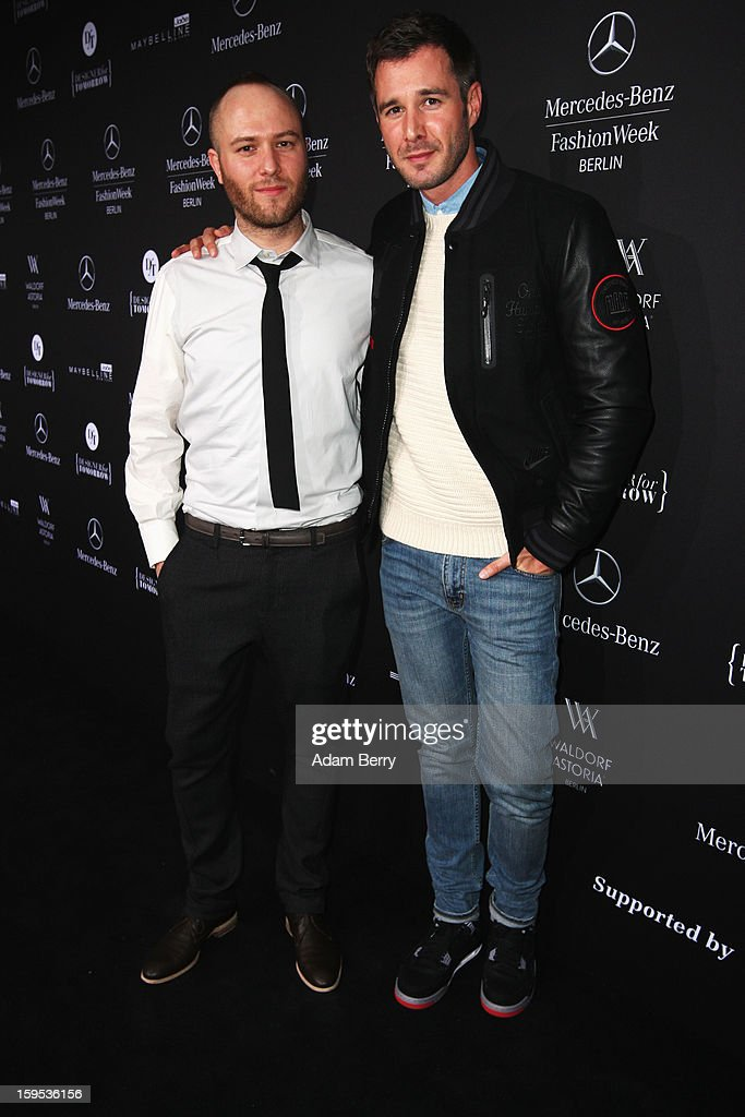 Marc Stone and Jochen Schropp attend Marc Stone Autumn/Winter 2013/14 fashion show during Mercedes-Benz Fashion Week Berlin at Brandenburg Gate on January 15, 2013 in Berlin, Germany.
