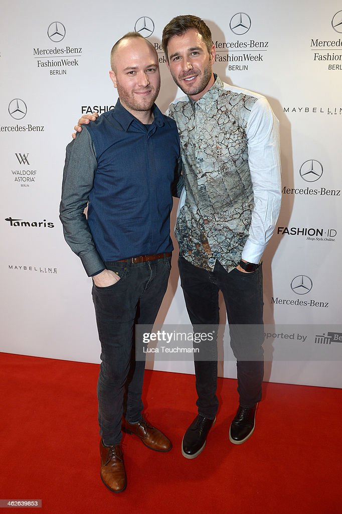 Marc Stone and Jochen Schropp attend the Marc Stone show during Mercedes-Benz Fashion Week Autumn/Winter 2014/15 at Brandenburg Gate on January 14, 2014 in Berlin, Germany.
