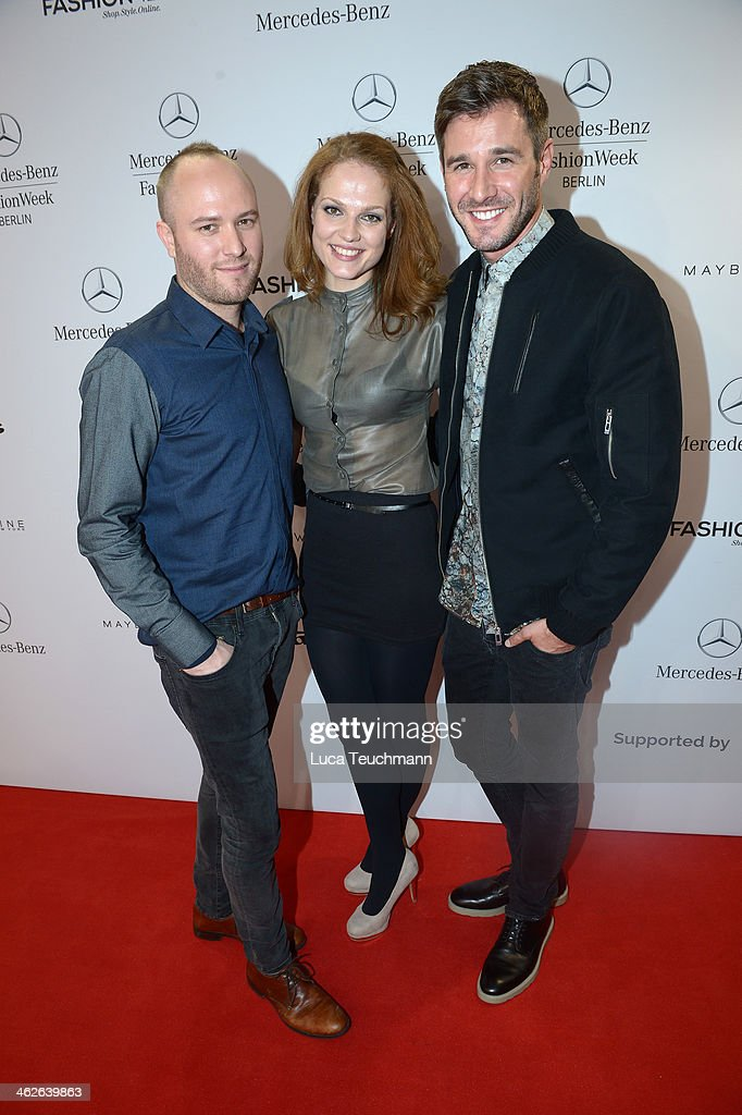 Marc Stone, Isabell Vinet and Jochen Schropp attend the Marc Stone show during Mercedes-Benz Fashion Week Autumn/Winter 2014/15 at Brandenburg Gate on January 14, 2014 in Berlin, Germany.