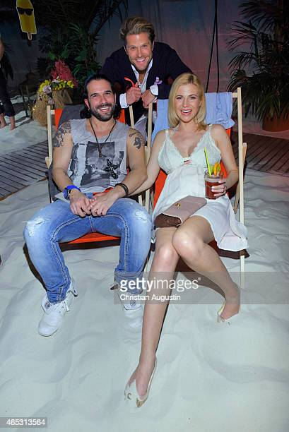 Marc Terenzi and girlfriend Myriel Brechtel pregnant and Paul Janke attend the Langnese 80th Anniversary Celebration at Beach Centre Wandsbek on...