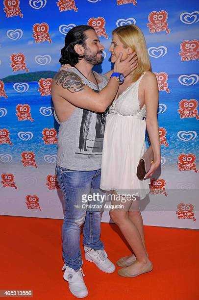 Marc Terenzi and girlfriend Myriel Brechtel pregnant attend the Langnese 80th Anniversary Celebration at Beach Centre Wandsbek on March 5 2015 in...
