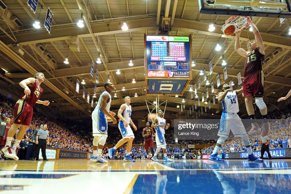 Marc Trasolini #15 of the Santa Clara Broncos goes up for a dunk against the Duke Blue Devils at Cameron Indoor Stadium on December 29, 2012 in Durham, North Carolina. Duke defeated Santa Clara 90-77.