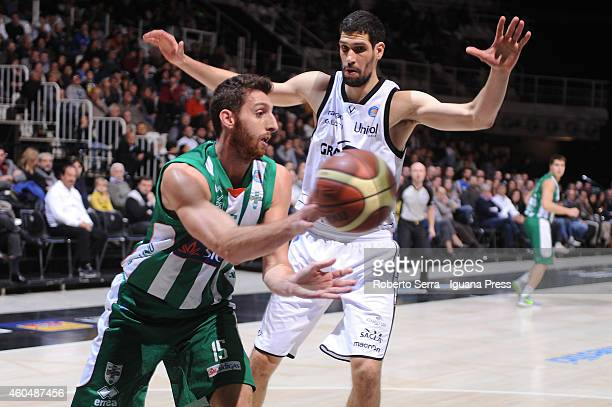 Marc Tresolini of Sidigas competes withGino Cuccarolo of Granarolo during the LegaBasket serie A1 match between Virtus Granarolo Bologna and Sidigas...