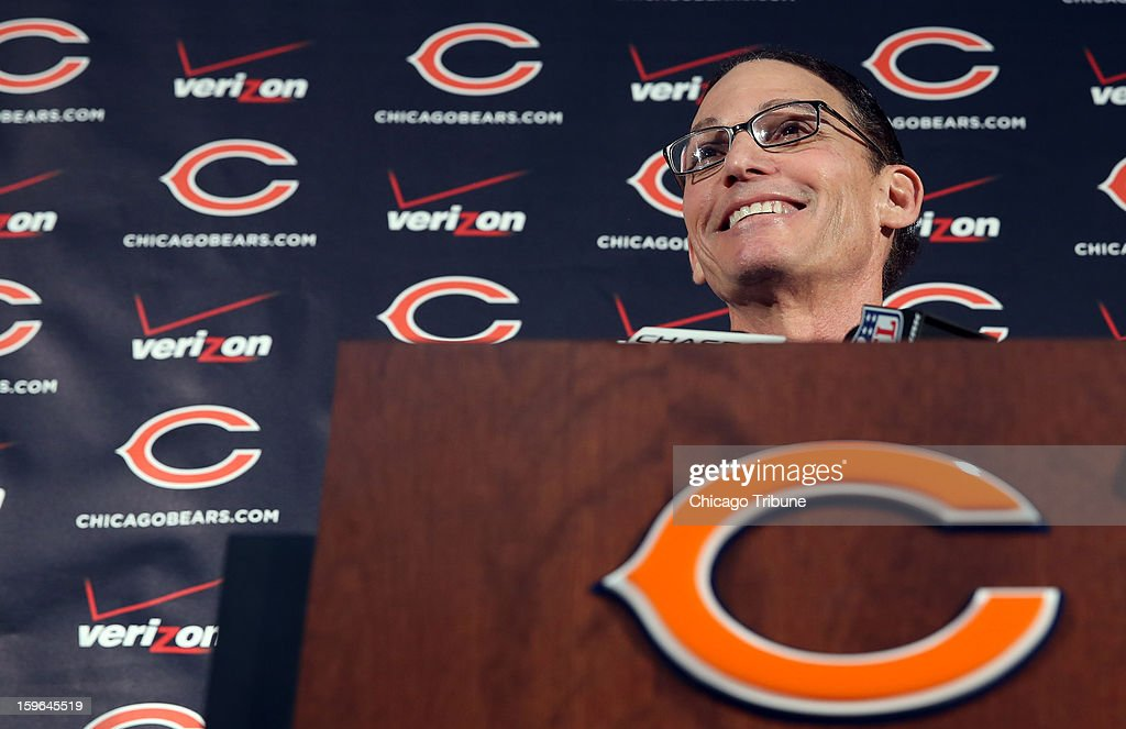 Marc Trestman takes questions from reporters as he's announced as the new head coach of the Chicago Bears at Halas Hall in Lake Forest, Illinois, on Thursday, January 17, 2013.