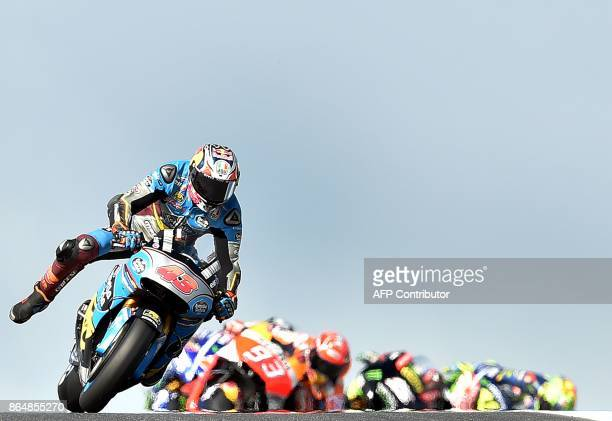 Marc VDS Honda rider Jack Miller of Australia Honda leads a pack during the Australian MotoGP Grand Prix at Phillip Island on October 22 2017 / AFP...