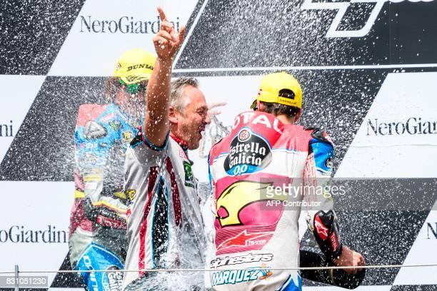 Marc VDS' Italian rider Franco Morbidelli and EG 00 Marc VDS' Spanish rider Alex Marquez celebrate on podium during the Moto2 Austrian Grand Prix...