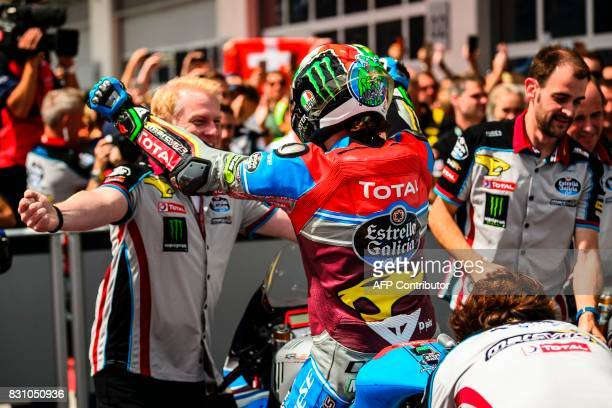 Marc VDS' Italian rider Franco Morbidelli celebrates after winning during the Moto2 Austrian Grand Prix race at Red Bull Ring in Spielberg Austria on...