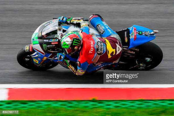 Marc VDS' Italian rider Franco Morbidelli competes during first practice session of the Moto2 Austrian Grand Prix weekend at Red Bull Ring in...