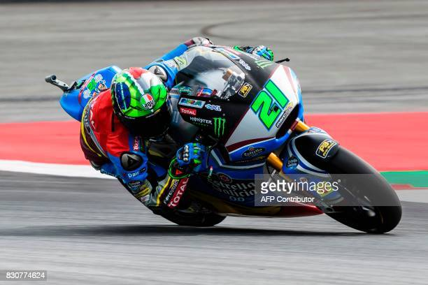Marc VDS Italian rider Franco Morbidelli competes during the qualifying session of the Moto2 Austrian Grand Prix weekend at Red Bull Ring in...