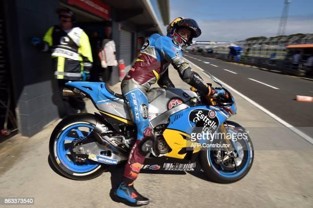 Marc VDS' rider Jack Miller of Australia leaves the pit lane during the second practice session of the Australian MotoGP Grand Prix at Phillip Island...