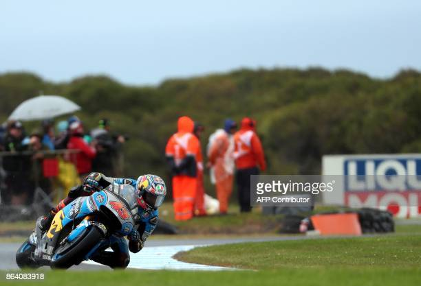 Marc VDS rider Jack Miller of Australia powers his machine during the third practice session of the Australian MotoGP Grand Prix at Phillip Island on...