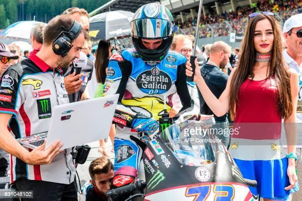Marc VDS's Italian rider Franco Morbidelli prepares on grid for the start of the Moto2 Austrian Grand Prix race at Red Bull Ring in Spielberg Austria...