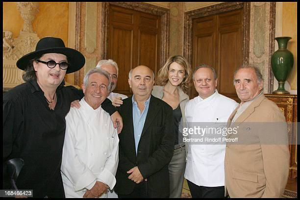 Marc Veyrat Michel Guerard Guy Savoy Gerard Jugnot Julie Andrieu Joel Robuchon and Claude Brasseur at Gastronomic Lunch Cooked By Famed Chefs For...